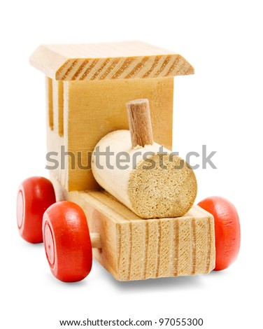 wooden train toy with red wheels isolated on white background - stock photo