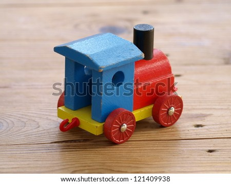 wooden train, wooden toy - stock photo