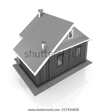 Wooden travel house or a hotel on a white background