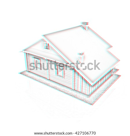 Wooden travel house or a hotel on a white background. Pencil drawing. 3D illustration. Anaglyph. View with red/cyan glasses to see in 3D. - stock photo