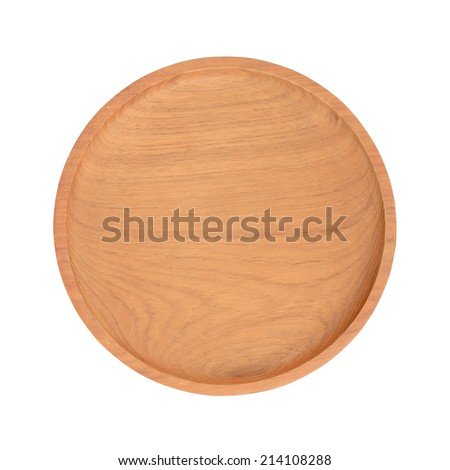 Wooden tray plate from above isolated white background
