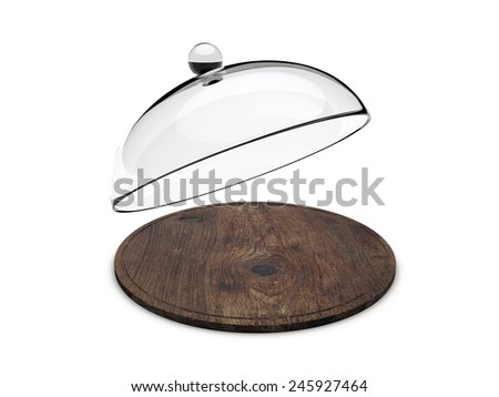 Wooden tray with glass cover - stock photo