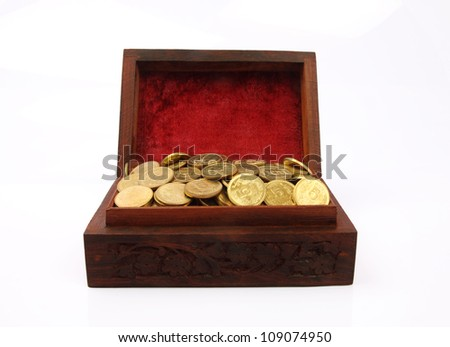 Wooden Treasure Chest Filled with Gold Coin - stock photo