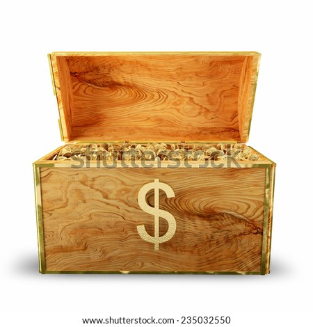 Wooden treasure chest loaded with golden coins - stock photo