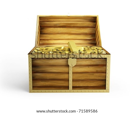 wooden treasure chest on a white background - stock photo