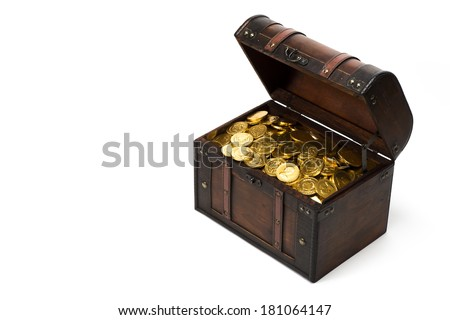 wooden treasure chest with gold coins