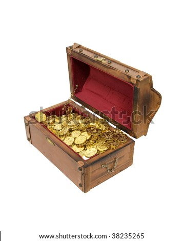 Wooden treasure chest with metal straps and hardware filled with gold - path included