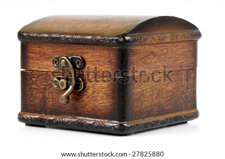 Wooden treasure chest with valuables, isolated over white background