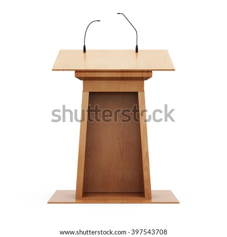 Wooden tribune with microphones isolated on white background. 3d rendering. - stock photo