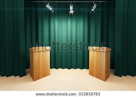 Wooden tribunes on the stage with green scenes and spotlights