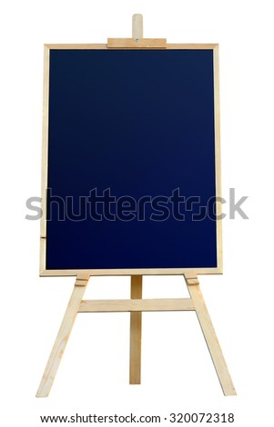 Wooden tripod drawing Legged wood painting with frame isolated on white background. This has clipping path.