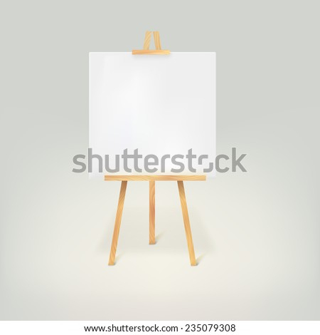 Wooden tripod with a white sheet of paper on white background - stock photo
