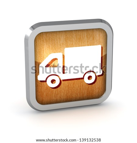 wooden truck icon button on a white background - stock photo
