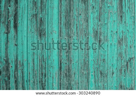 Wooden turquoise colored background. Abstract rustic surface. Blue green shabby chic wallpaper texture - stock photo