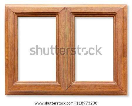 Wooden twin frame isolated on white - stock photo