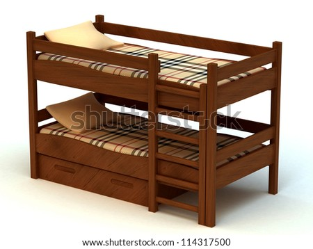 Wooden two-storeyed bed separately on a white background 3D