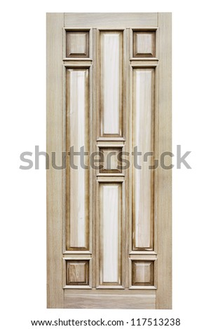 Wooden unpainted Door isolated on white - stock photo