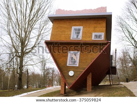 wooden upside-down house in Belarus - stock photo