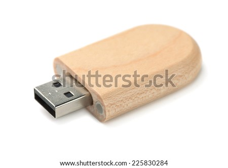 Wooden Usb memory stick isolated on white - stock photo