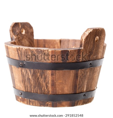 wooden vat Isolated on white background