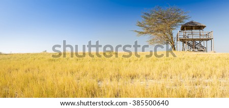 Wooden viewing hut with thatched roof looks out over the Makgadikgadi Pan in Botswana, Africa while on safari - stock photo
