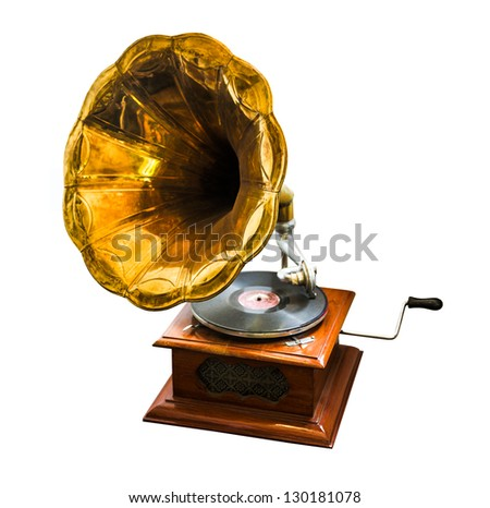 wooden vintage antique old gramophone on white background - stock photo