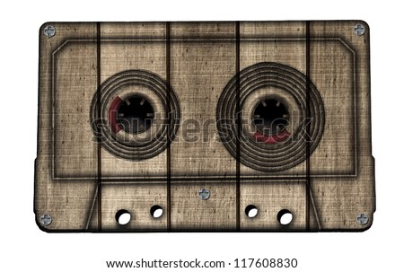 Wooden Vintage Cassette Isolated on White