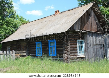 Wooden vintage country house - stock photo