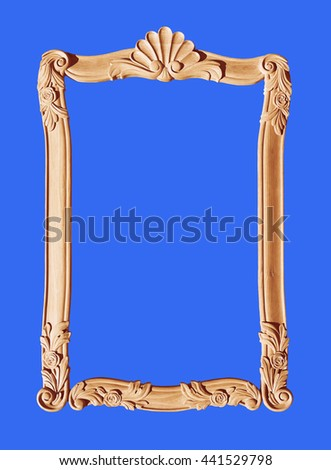 Wooden  vintage frame isolated - stock photo