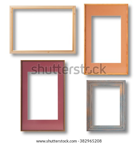 Wooden Vintage frame isolated with shadow on white background closeup, mock up. - stock photo