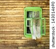 Wooden vintage green window - stock photo