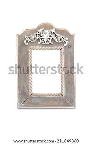 Wooden vintage style photo frame isolated on white background