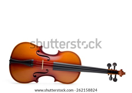 wooden violin body isolated on white background - stock photo