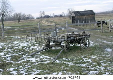 Wooden wagon - stock photo