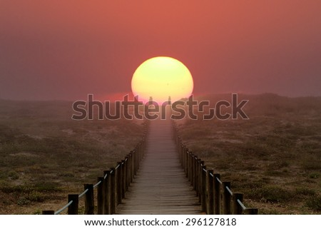 Wooden walkway over a dune near the sea. Path to sun, to summer and vacations. Illustration - stock photo