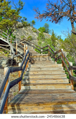 Wooden walkway through the Mammoth Hot Springs area of Yellowstone National Park, Wyoming - stock photo