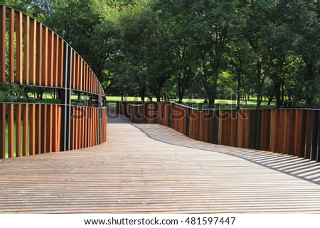Wooden walkway with wooden wall
