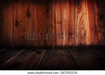 Wooden wall and floor abstract. Focus is on wall. - stock photo