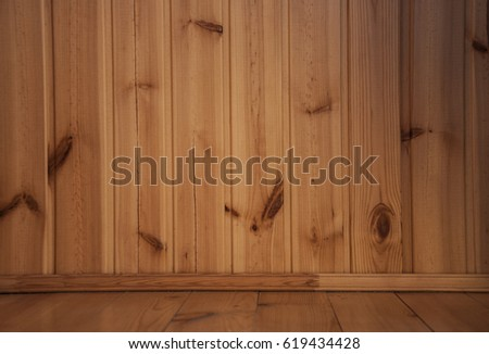 wooden wall and floor in the room