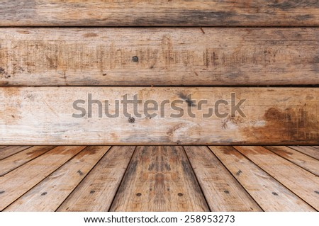 Wooden wall and floor texture for background