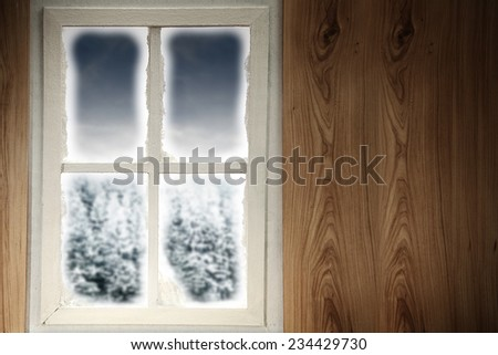 wooden wall and white window  - stock photo