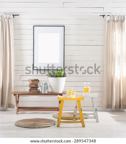 wooden wall desk and stool - stock photo