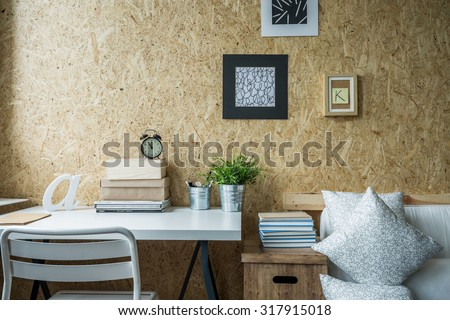 Wooden wall in designed teen girl room  - stock photo
