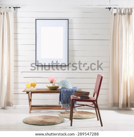 wooden wall  office environment and the wicker chair - stock photo