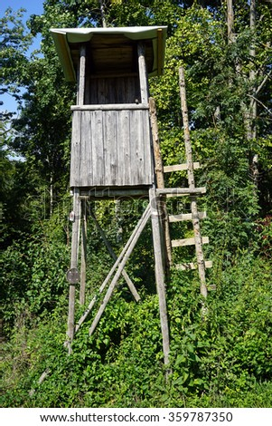 Wooden watch tower in the forest in Swabia, Germany