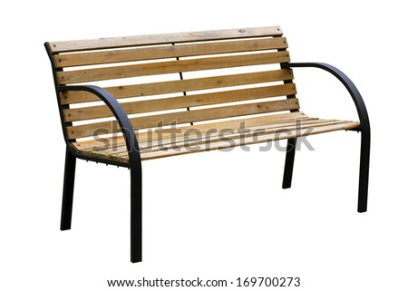 Wooden  weathered yellow garden bench with metal legs. Isolated with patch. Mass production