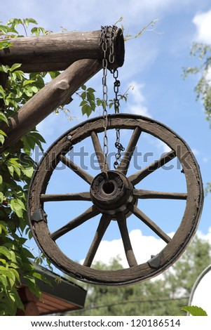 wooden wheel on a chain