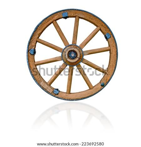 Wooden wheel on white background - stock photo