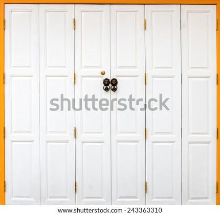 Wooden white door. - stock photo