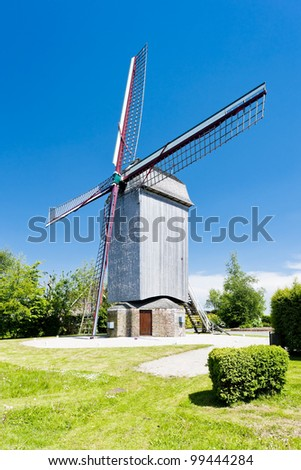 wooden windmill Drievenmeulen near Steenvoorde, Nord-Pas-de-Calais, France
